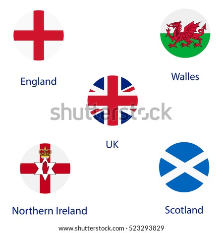 vector illustration round flags