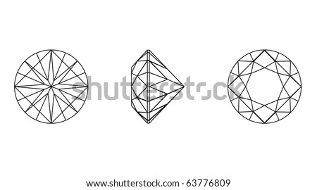 Vector  illustration  round shapes of a gemstone against white background. Wire-frame