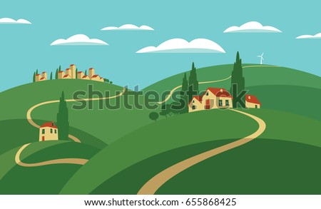 Vector illustration rural European village scene. Landscape with hills, roads, settlements and sky with clouds in flat style