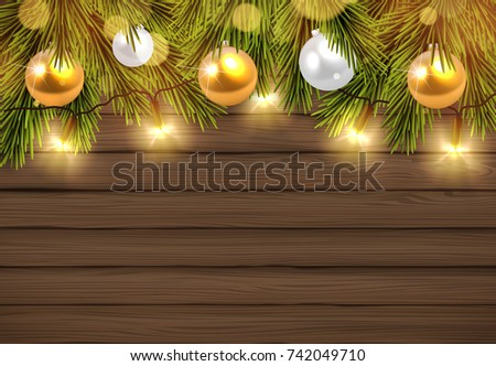 eb076fe4e7b84 Rustic Wooden Board with Golden Color Christmas Lights and Baubles.Space For