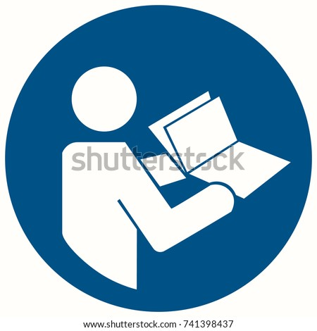 Vector illustration safety sign REFER INSTRUCTION MANUAL AND BOOKLET. Refer to instruction manual/booklet