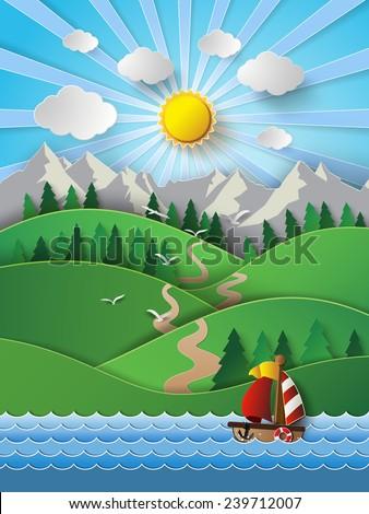 vector illustration sailing