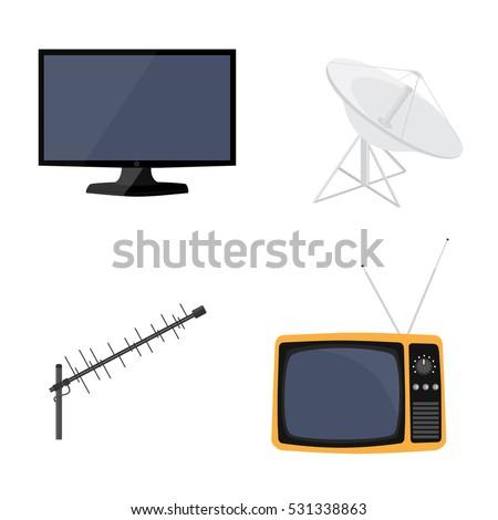 Vector illustration satellite dish antenna, television antenna, new modern lcd TV monitor and retro tv icon set. Television antenna.
