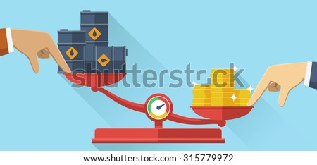 Vector illustration. Scales with oil barrels and gold coins. Concept of opposition on oil market. Oil price.