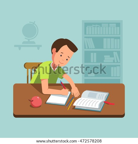 Vector illustration school boy kid sitting at the desk and doing his homework. Flat concept back school