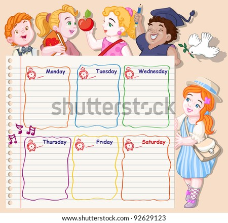 Vector illustration, school schedule for kids, card concept.