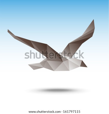 Vector illustration - Seagull (poligonal stile)