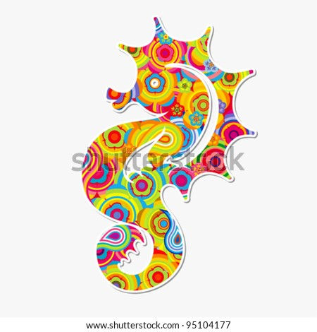 Vector illustration - Seahorse (hippocampus). Abstract colorful background.