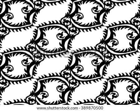 Vector Illustration. Seamless Abstract Monochrome Floral Pattern. Exclusive Decoration Suitable for textile, fabric and packaging
