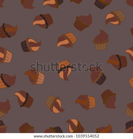 Vector illustration. Seamless bright birthday pattern on brown, purple and orange. Wrapping paper. Cake, cap, cone. #1039554052
