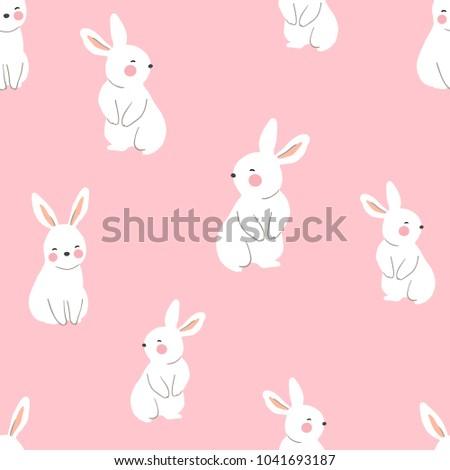 Vector illustration seamless pattern background design of cute rabbit on pink pastel.Doodle cartoon style.