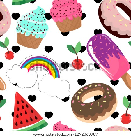 vector illustration seamless pattern background of donuts ice cream cupcakes rainbow cherries #1292063989