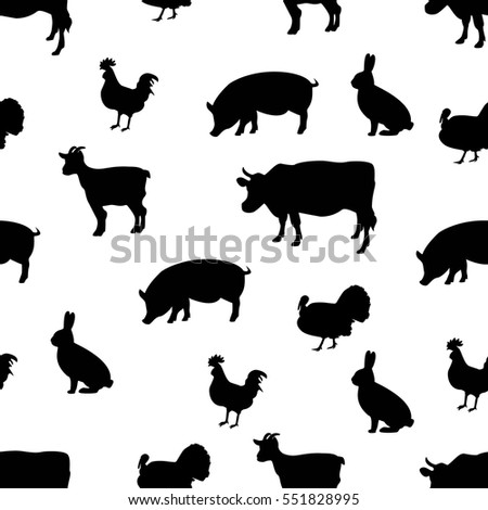 Vector illustration seamless pattern farm animals silhouette isolated on a white background. Cow, chicken, goat, rabbit and turkey.