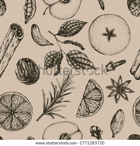 Vector illustration seamless pattern hot winter mulled wine alcoholic drink on vintage background. Sketch-style mulled wine ingredients and spices for wrapping, packaging, menu design Stockfoto ©