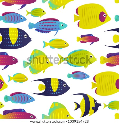 vector illustration seamless pattern with coral reef fish cartoon