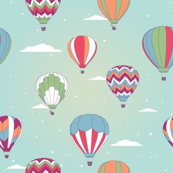 Vector illustration, seamless pattern with retro hot air balloon