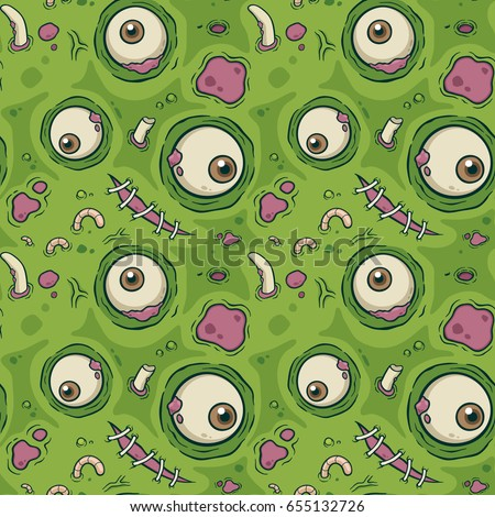 Vector illustration seamless pattern with Zombie
