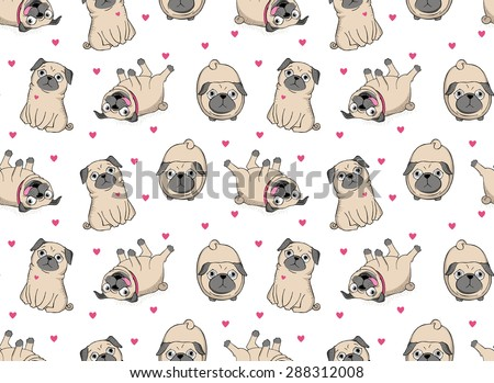 Vector illustration. Seamless vector pattern with pugs. Сток-фото ©