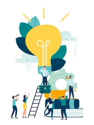 vector illustration, search for new ideas, teamwork in the company, brainstorming, fantasy flight, thought process, balloon in the form of a light bulb vector