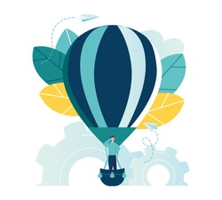 vector illustration, search for new ideas, teamwork in the company, brainstorming, fantasy flight, thought process, balloon flies up the company of little men rejoice, moving up approaching the goal