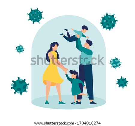 Vector illustration, Self-isolation from a pandemic. Family quarantined and isolated under a glass dome under protection vector