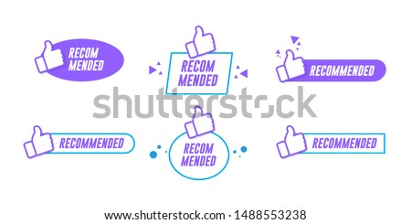 vector illustration set banner recommended with thumbs up Foto stock ©