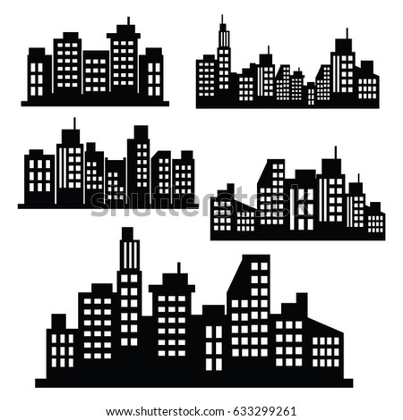 Vector Illustration : Set Building silhouettes