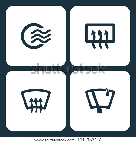 Vector Illustration Set Car Dashboard Icons. Elements Air dashboard, high beam, Rear window defrost, and Vector Windshield Wiper icon on white background