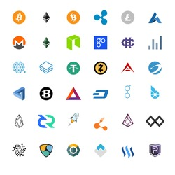 Vector illustration set, collection of crypto currency blockchain flat logo isolated on white background.