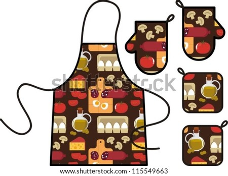 Vector illustration - set kitchen. Apron and oven gloves