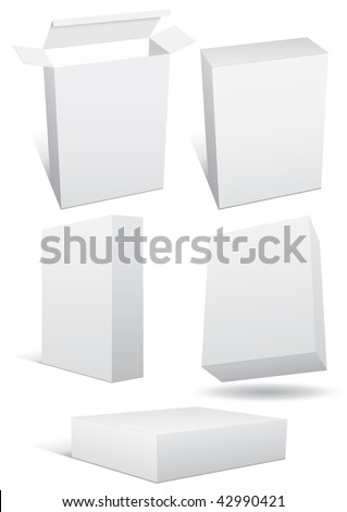Vector illustration set of a blank (retail) box in different 3D views. All objects are isolated. Box has a transparent background. Colors and white background color are easy to adjust/customize.