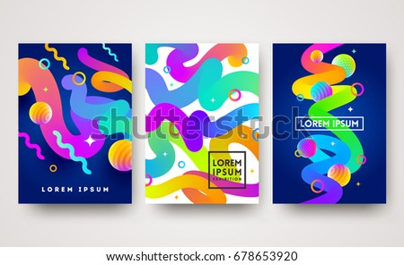 Vector illustration. Set of abstract multicolored background. Bright design for greeting card, poster, cover or flyers.