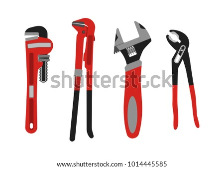 Vector illustration. Set of adjustable wrenches.