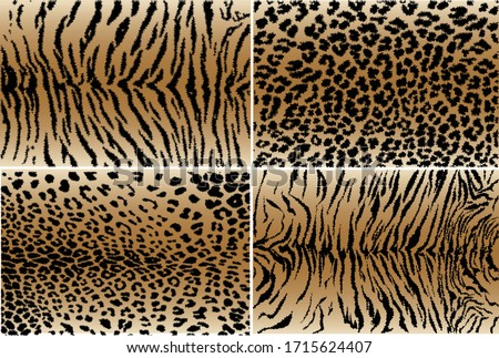 Vector illustration set of animal seamless prints. Tiger and leopard patterns collection. Foto stock ©