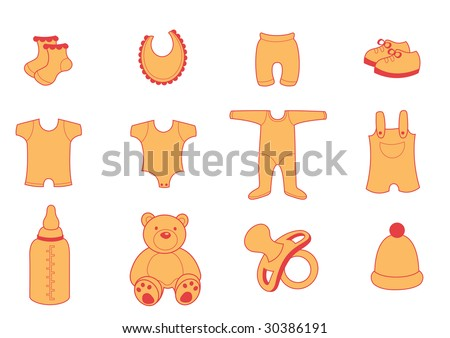 Vector illustration set of baby Clothing and Accessories Icons - stock vector