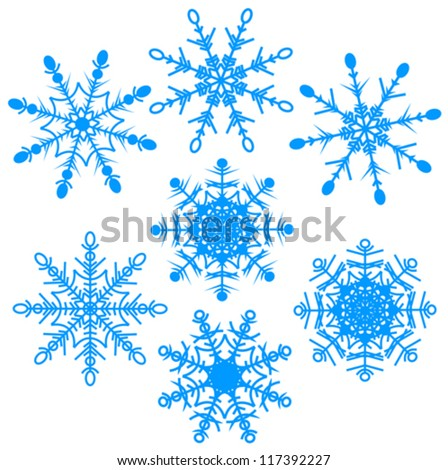 Vector illustration set of beautiful various snowflakes