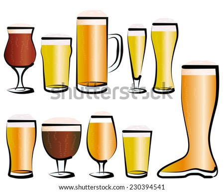 Vector illustration set of beer glasses, as you can find in a bar, a pub or a restaurant Stock photo ©