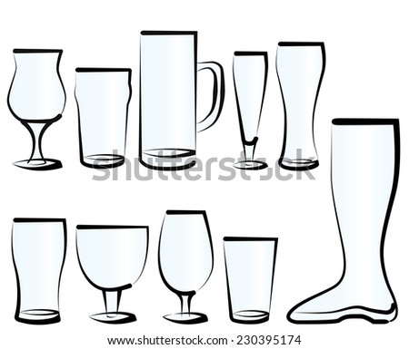 Vector illustration set of beer glasses, as you can find in a bar, a pub or a restaurant. Stock photo ©
