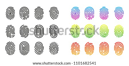 Vector illustration set of black and colorful fingerprint icons. Flat design  isolated on white background. Fingerprint Identification Symbol.