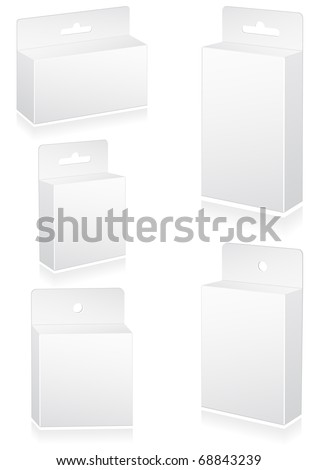 Vector illustration set of blank retail boxes with hang slot. All objects are isolated. Colors and transparent background are easy to adjust.