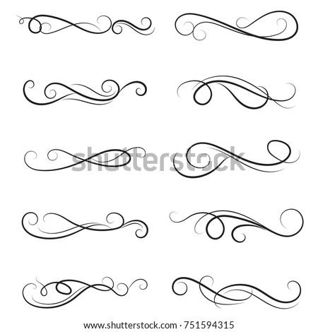 vector illustration set of border calligraphic and dividers decorative, calligraphic swirl