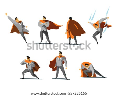 Vector illustration set of businessman Superhero actions, different poses, business power icons set, cartoon colored style