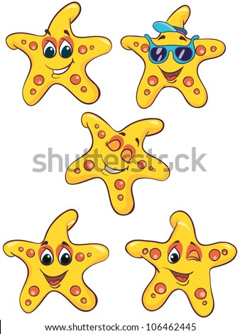 Vector illustration - set of  cartoon sea-stars on white background