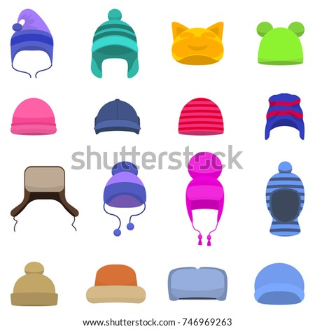 Vector illustration set of cartoon winter hats. Isolated white background. Knitted head winter accessories. Flat style. Collection of caps, beanie.