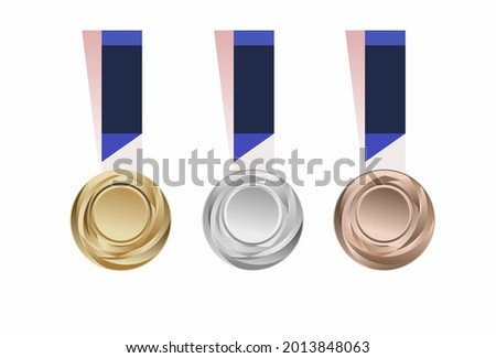 Vector illustration, Set of championship medals, gold, silver and bronze.