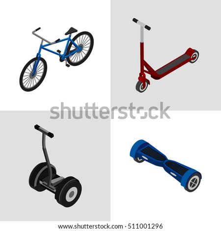 Vector illustration. Set of colorful icons transport for extreme sports. Bicycle, scooter, gyroscooter, electric scooter. Isometric, 3D