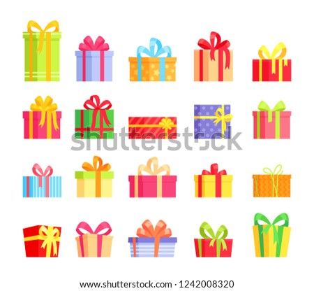 Vector illustration set of colorful wrapped gift boxes, present, celebration event, surprise, greeting. Cartoon collection in flat style for Christmas, New Year, Birthday, Valentine day.