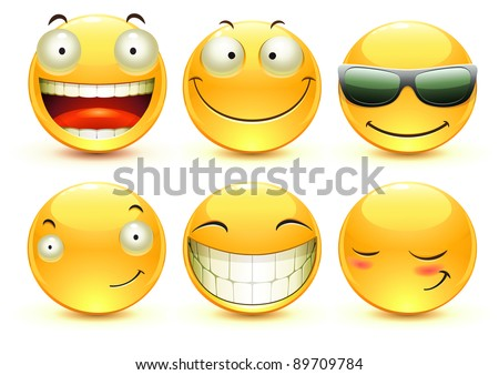 Vector illustration set of cool glossy Single Emoticons