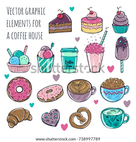 Stock Photo Vector illustration. Set of cute and fun ice cream stickers, badges, icons.