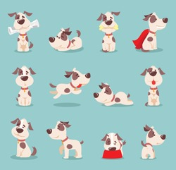 Vector illustration set of cute and funny cartoon little dogs-pupies.